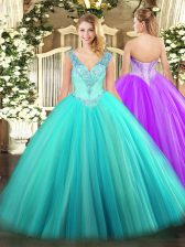 Super Floor Length Lace Up 15 Quinceanera Dress Aqua Blue for Military Ball and Sweet 16 and Quinceanera with Beading