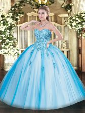 Appliques 15 Quinceanera Dress Baby Blue Lace Up Sleeveless Floor Length