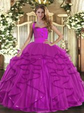 Sweet Fuchsia Lace Up Halter Top Ruffles Sweet 16 Dresses Tulle Sleeveless