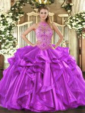 Luxury Purple Sleeveless Floor Length Beading and Embroidery and Ruffles Lace Up Quinceanera Dresses
