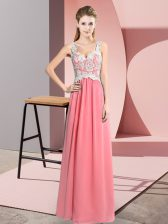 Dynamic Watermelon Red Sleeveless Lace Floor Length Homecoming Dress
