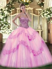 Floor Length Pink Quince Ball Gowns Sweetheart Sleeveless Lace Up