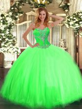 On Sale Ball Gowns Sweetheart Sleeveless Tulle Floor Length Lace Up Beading 15th Birthday Dress