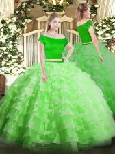 Short Sleeves Tulle Floor Length Zipper Quinceanera Dress in with Appliques and Ruffled Layers