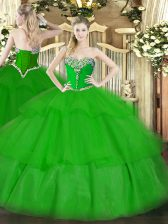 Floor Length Lace Up Ball Gown Prom Dress Green for Military Ball and Sweet 16 and Quinceanera with Beading and Ruffled Layers