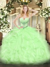 Sleeveless Lace Up High Low Beading and Ruffles Quinceanera Gowns