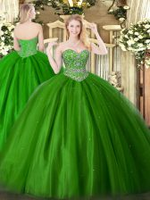 Exquisite Green Ball Gowns Sweetheart Sleeveless Tulle Floor Length Lace Up Beading Quinceanera Dresses