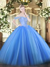 Great Off The Shoulder Sleeveless Tulle Sweet 16 Quinceanera Dress Beading Lace Up