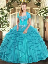 Sweet Tulle Sweetheart Sleeveless Lace Up Beading and Ruffles Quinceanera Gown in Aqua Blue