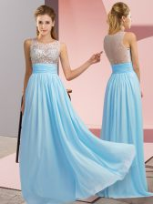 Chiffon Scoop Sleeveless Side Zipper Beading in Aqua Blue