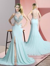 Dazzling Aqua Blue Prom Gown High-neck Sleeveless Sweep Train Zipper