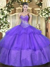 Extravagant Lavender Ball Gowns Tulle Sweetheart Sleeveless Beading and Ruffled Layers Floor Length Lace Up Vestidos de Quinceanera