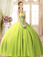 Yellow Green Lace Up Sweetheart Beading Quinceanera Gowns Tulle Sleeveless