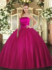 Tulle Strapless Sleeveless Lace Up Ruching Vestidos de Quinceanera in Fuchsia