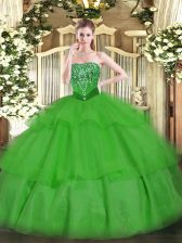 Green Ball Gowns Beading and Ruffled Layers Sweet 16 Dress Lace Up Tulle Sleeveless Floor Length
