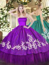 Purple Strapless Zipper Embroidery 15th Birthday Dress Sleeveless