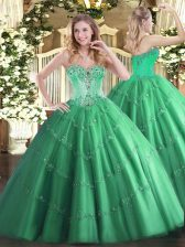 Turquoise Ball Gowns Beading and Appliques Sweet 16 Dresses Lace Up Tulle Sleeveless Floor Length