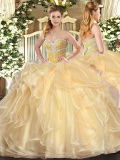 Floor Length Champagne Vestidos de Quinceanera Sweetheart Long Sleeves Lace Up