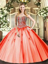Orange Red Lace Up Quince Ball Gowns Beading and Appliques Sleeveless Floor Length
