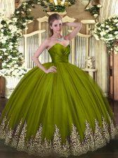Appliques Quince Ball Gowns Olive Green Zipper Sleeveless Floor Length