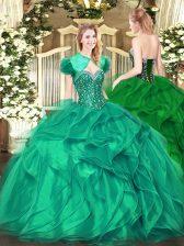 Turquoise Lace Up Sweet 16 Dresses Beading and Ruffles Sleeveless Floor Length