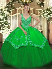 Green Taffeta and Tulle Zipper Quince Ball Gowns Sleeveless Floor Length Beading and Embroidery