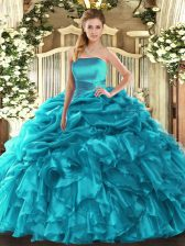 Customized Teal Sleeveless Organza Lace Up Quinceanera Gowns for Military Ball and Sweet 16 and Quinceanera