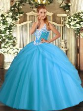 Affordable Aqua Blue Sleeveless Floor Length Beading and Pick Ups Lace Up Quinceanera Gowns