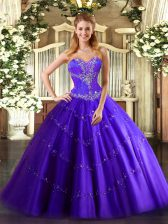 Sumptuous Sweetheart Sleeveless Lace Up Sweet 16 Quinceanera Dress Purple Tulle