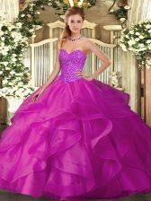 Fuchsia Sleeveless Beading and Ruffles Floor Length Sweet 16 Dress