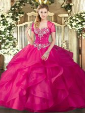 Custom Made Hot Pink Ball Gowns Beading and Ruffles Quinceanera Dress Lace Up Tulle Sleeveless Floor Length