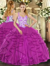 Modern Tulle Straps Sleeveless Lace Up Beading and Appliques and Ruffles Ball Gown Prom Dress in Fuchsia