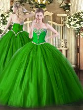 Green Ball Gowns Sweetheart Sleeveless Tulle Floor Length Lace Up Beading 15 Quinceanera Dress