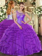 Sleeveless Lace Up Floor Length Beading and Ruffles Sweet 16 Dress
