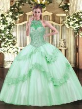 Superior Floor Length Apple Green Sweet 16 Quinceanera Dress Tulle Sleeveless Beading and Appliques