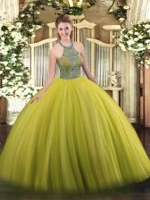 Dazzling Olive Green Halter Top Lace Up Beading Quince Ball Gowns Sleeveless