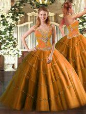 Sleeveless Floor Length Beading Lace Up Sweet 16 Dress with Orange