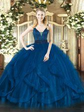 Nice Royal Blue Ball Gowns Beading and Ruffles Sweet 16 Quinceanera Dress Zipper Tulle Sleeveless Floor Length