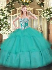 Tulle Strapless Sleeveless Lace Up Beading and Ruffled Layers 15th Birthday Dress in Turquoise