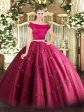 Dynamic Hot Pink Short Sleeves Appliques Floor Length Sweet 16 Quinceanera Dress