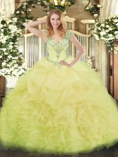 Delicate Floor Length Yellow Quinceanera Gown V-neck Sleeveless Lace Up
