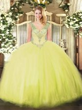 Perfect Yellow Green Ball Gowns Tulle V-neck Sleeveless Beading Floor Length Lace Up Quinceanera Dress