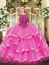 Superior Sleeveless Beading and Ruffled Layers Zipper 15th Birthday Dress