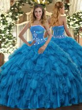 Fabulous Baby Blue Organza Lace Up Strapless Sleeveless Floor Length Quinceanera Dress Beading and Ruffles