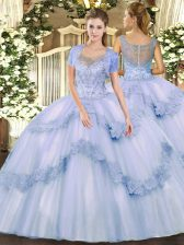 Free and Easy Tulle Sleeveless Floor Length Quince Ball Gowns and Beading and Appliques