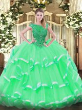 Cute Sleeveless Lace Up Floor Length Beading and Ruffled Layers Sweet 16 Dress