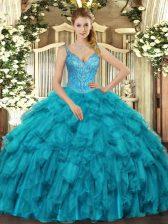 New Style Teal V-neck Lace Up Beading and Ruffles Sweet 16 Dresses Sleeveless