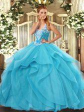 Noble Floor Length Aqua Blue 15th Birthday Dress Straps Sleeveless Lace Up