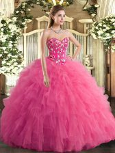 Ball Gowns Sweet 16 Dresses Hot Pink Sweetheart Tulle Sleeveless Lace Up