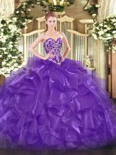 Designer Purple Lace Up Sweetheart Beading and Ruffles Sweet 16 Dresses Organza Sleeveless